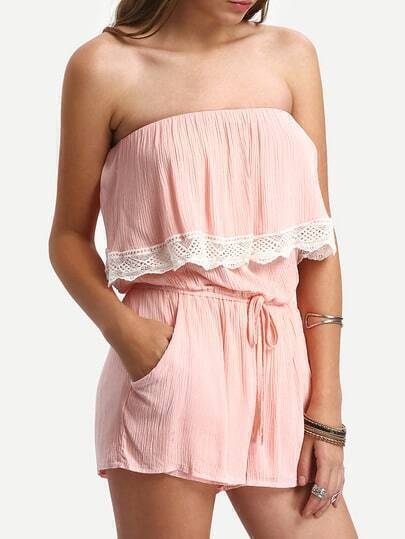 Lace Trimmed Ruffled Belted Strapless Pink Jumpsuit