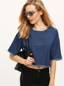 Frayed Pullover Crop Denim Top