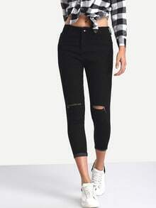 Knee Ripped Rolled Hem 3/4 Length Skinny Jeans