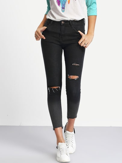 Ombre Ripped Raw Hem Jeans