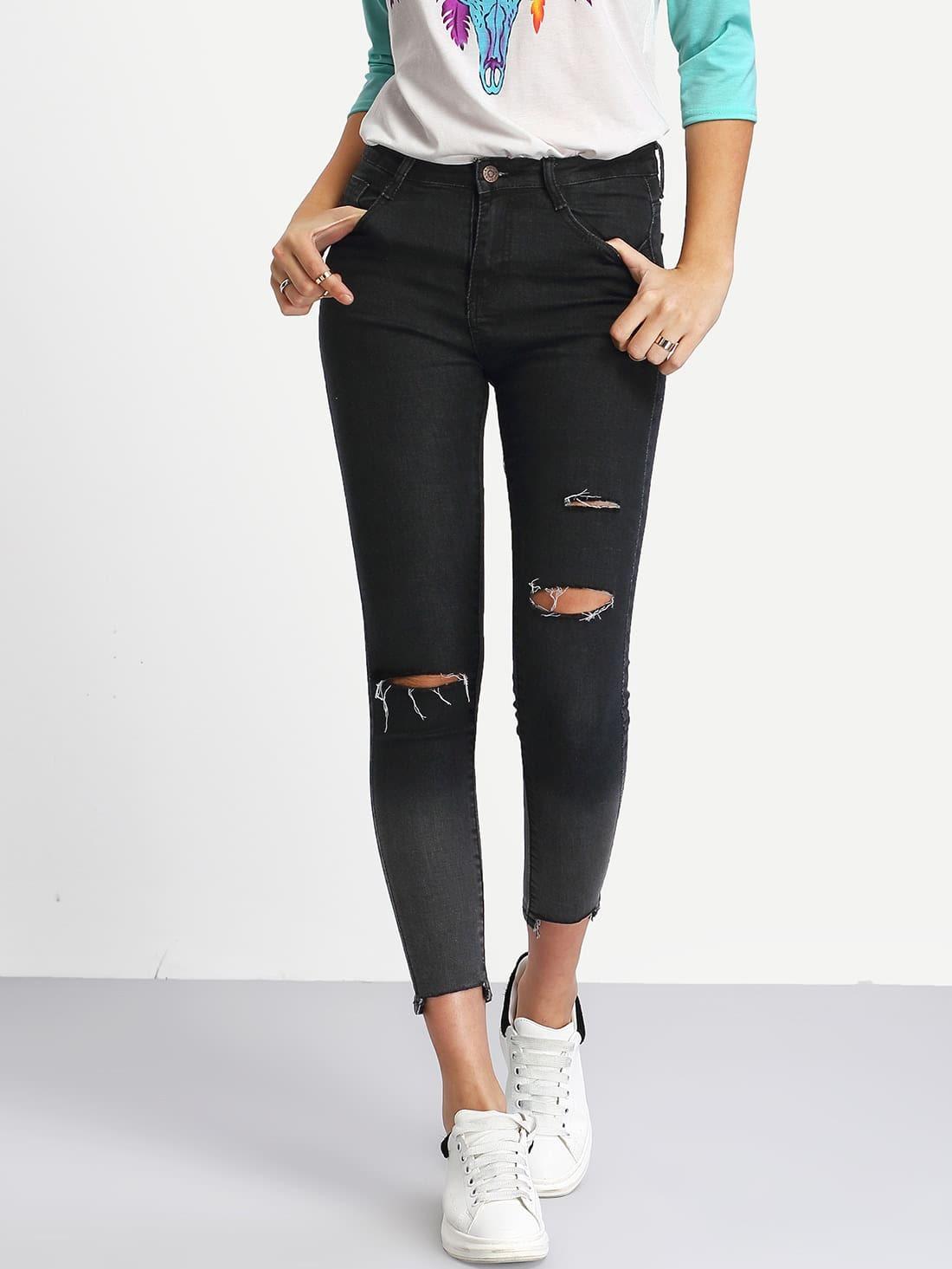 Фото Ombre Ripped Raw Hem Jeans. Купить с доставкой