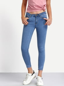 Frayed Light Blue Skinny Ankle Jeans