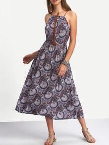 Paisley Print Tasselled Tie Racer Dress
