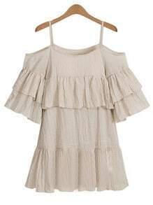 Open Shoulder Ruffled Tiered Dress