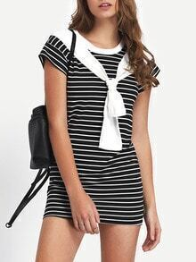 Striped Contrast Rib Neck Tied T-shirt Dress