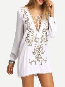 White Lace Up Embroidered Dress