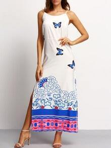 Spaghetti Strap Butterfly Print Split Dress