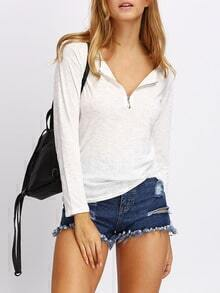 White Long Sleeve Zipper T-Shirt