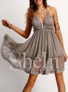 Coffee Halter Neck Lace Ruffled Hem Dress