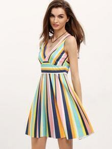Color-block Vertical Stripe V Neck Dress
