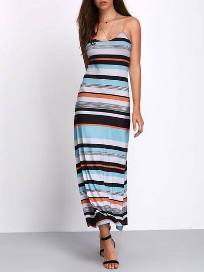 Colored Stripe Spaghetti Strap Maxi Dress