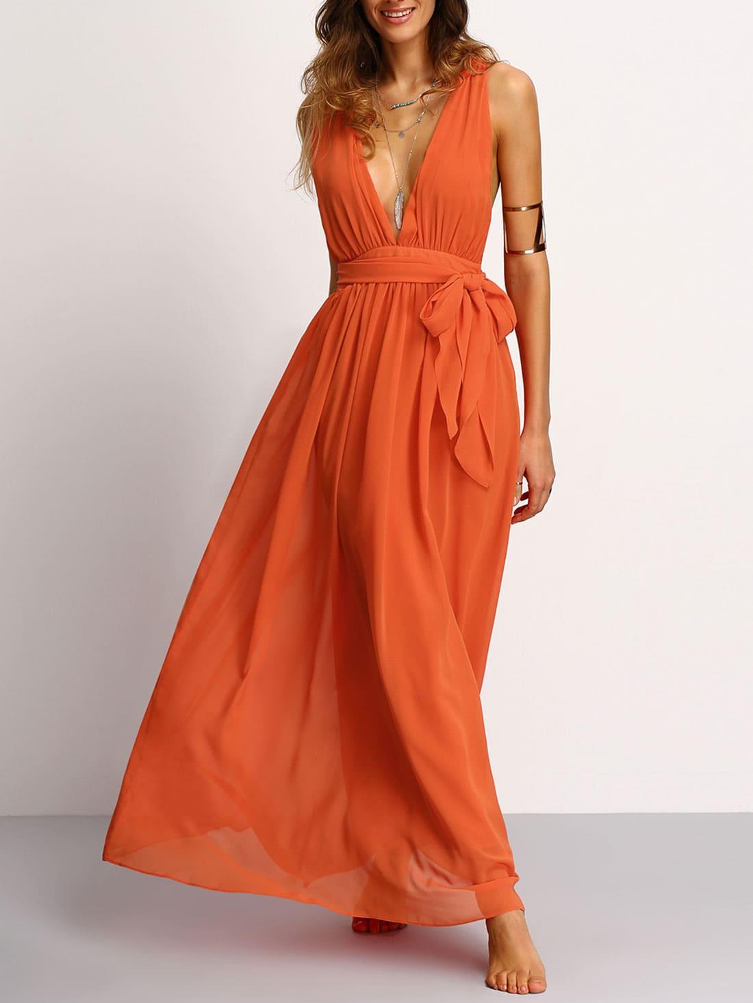 Купить Оранжевое макси платье с глубоким вырезом и поясом, Mary, SheIn