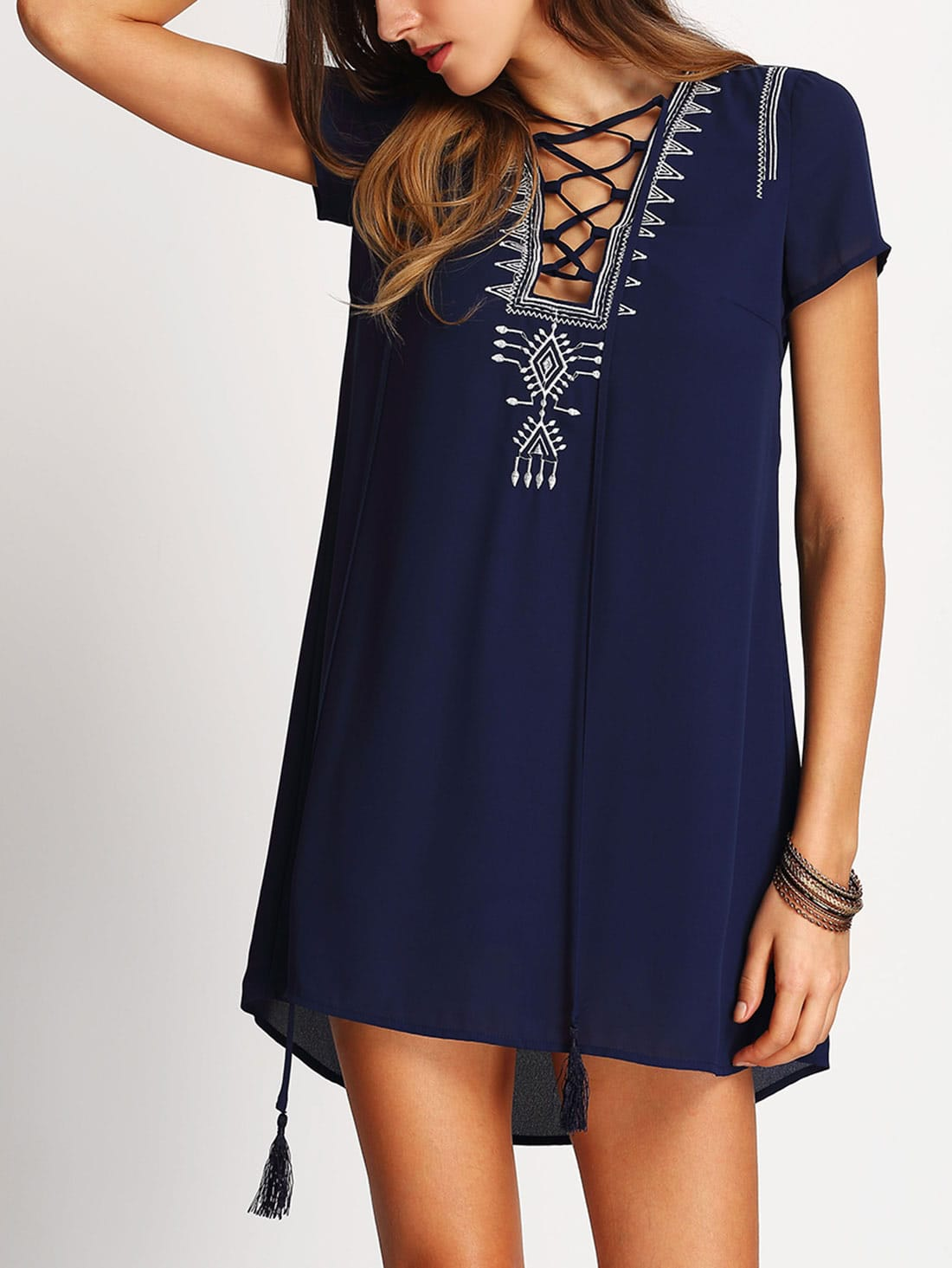 Tasseled Lace Up Embroidered Dress