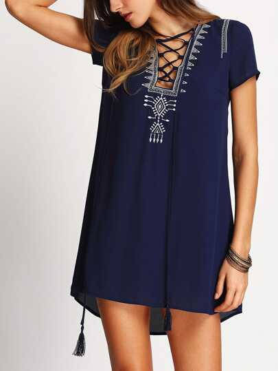 Royal Blue Lace Up Stampa Vestito a trapezio anteriore