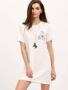 White Print Short Sleeve Casual Dress