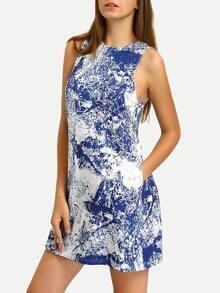 Multicolor Print Sleeveless Pockets Dress