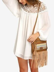 White Crochet Yoke Long Sleeve Chiffon Dress