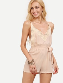 Crochet V-Neck Crisscross Back Tied Waist Jumpsuit