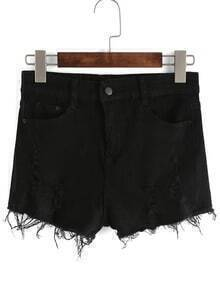 Frayed Pockets Denim Short Pants