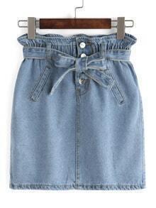 Bow-Tie Ruffled Waist Denim Skirt