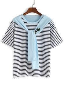 Cartoon Patch Blue Tie-Neck Striped T-shirt
