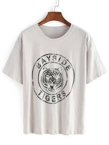 Tiger Logo Badge Print T-shirt
