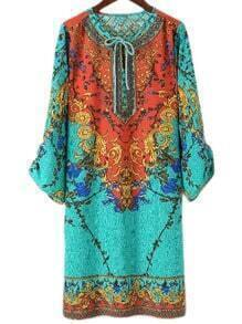 Multicolor Tie Neck Vintage Print Shift Dress