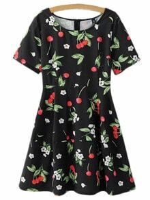 Black Zipper Back Cherry Print Skater Dress