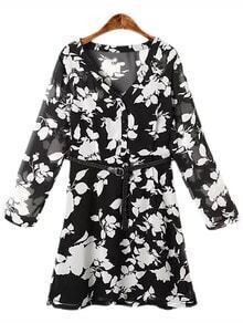 Black White V Neck Floral Print Dress