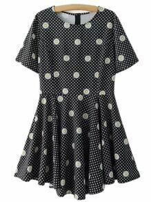 Black Polka Dots Daisy Print Skater Dress