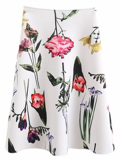 White Zipper Back Flower Print Swing Skirt