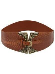 Metallic Featured Brown Crocodile Embossed Elastic Belt