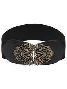 Cutout Interlock Buckle Black Elastic Belt