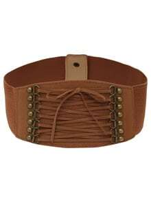 Lace-up Front Brown Wide Elastic Belt