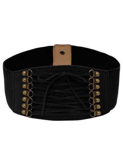 lace up front black wide elastic belt shein sheinside