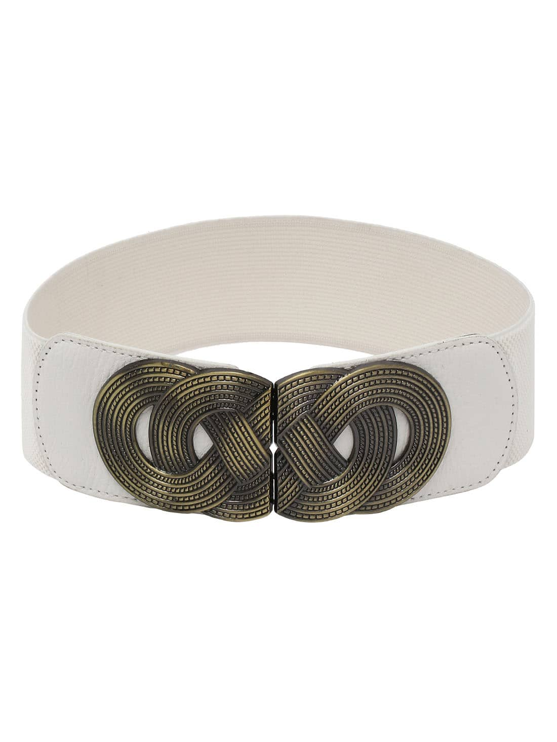braided metal interlock buckle white wide elastic belt