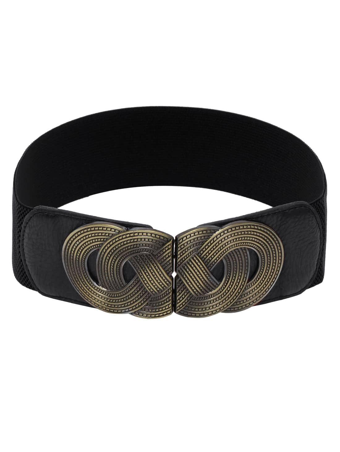 braided metal interlock buckle black wide elastic belt