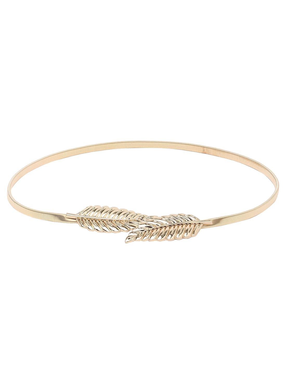 Leaf Buckle Golden Metal Elastic Belt
