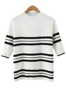 White Crew Neck Stripe Knit T-shirt