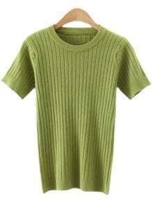 Green Round Neck Vertical Stripe Knitted T-shirt