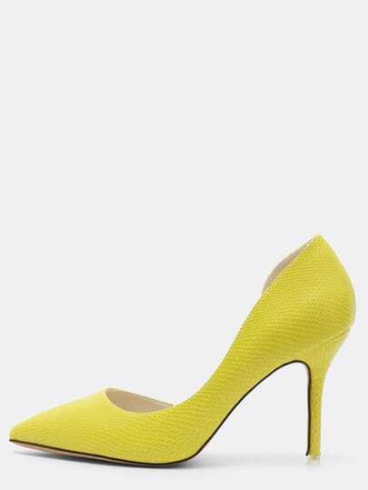 Yellow Snake Embossed Half D'orsay Pumps