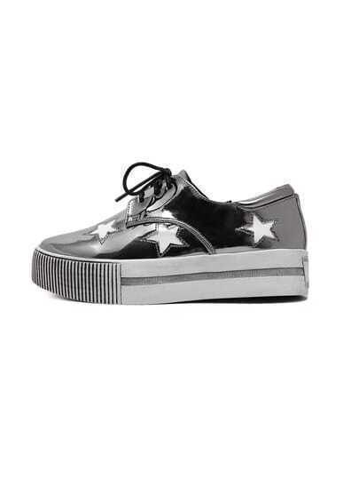 Grey Patent Star Cutting Lace-up Flatform Sneakers
