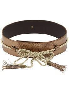 Snake Embossed Tassel Belt