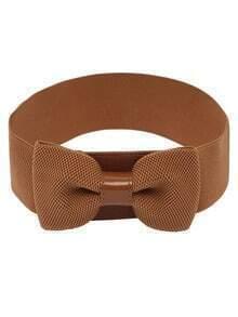 Bow Front Tan Wide Elastic Belt