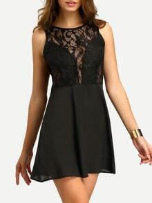 V Cut Back Lace Insert A-Line Dress