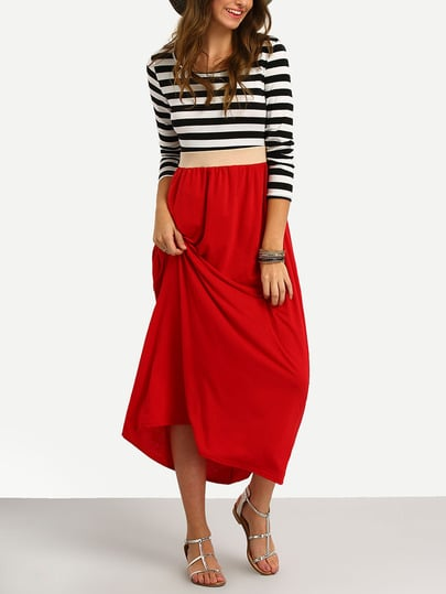 Striped Long Sleeve Casual Dress