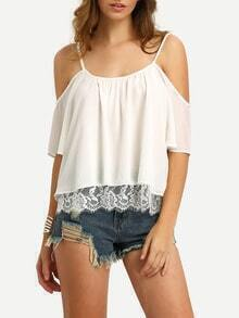 Cold Shoulder Lace Insert Chiffon Top