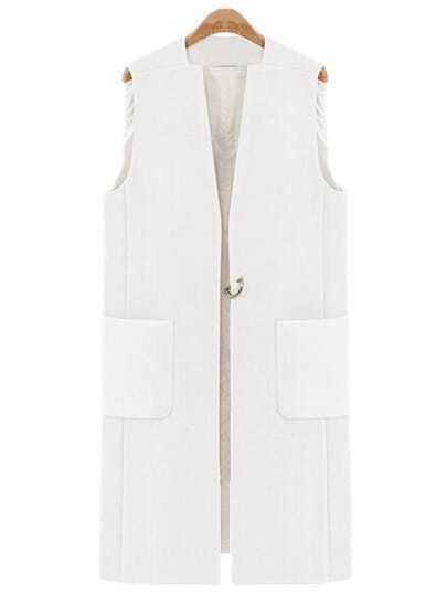 White Metallic Embellished Vest Coat With Pockets