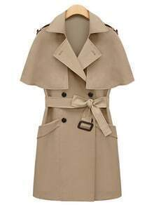 Beige Double Breasted Removable Capelet Coat With Belt