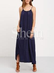 Sea Blue Spaghettic Strap Ruffle Hem Flowy Dress